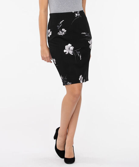 Floral Scuba Crepe Pencil Skirt, Black/Pearl/Charcoal, hi-res