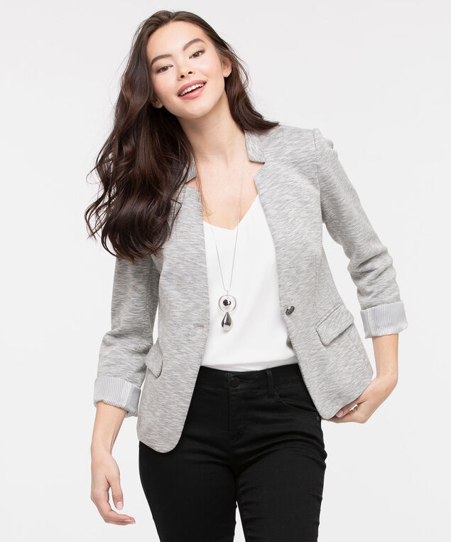 Inverted Notch Collar Blazer, Heather Grey Mix, hi-res