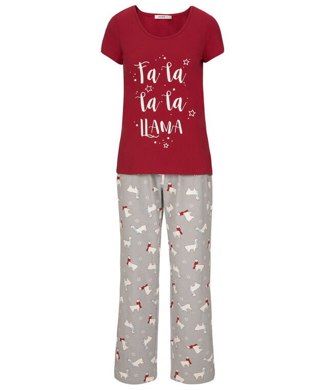 Llama Pajama Set, Cherry/Light Blue/Grey, hi-res