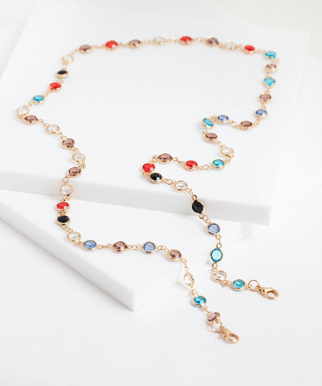 Delicate Coloured Crystal Mask Chain, Assorted, hi-res