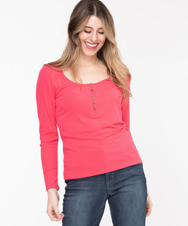 Scoop Neck Ribbed Henley, Rouge Red