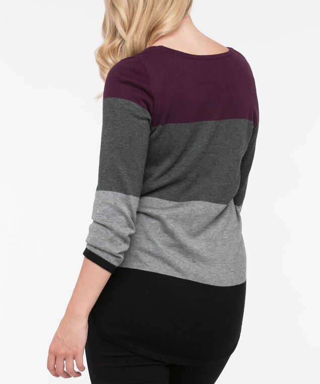 Button Trim Rounded Hem Pullover, Plum/Grey/Black, hi-res