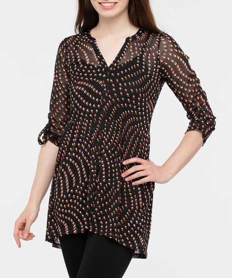 Roll Cuff Button Front Tunic, Black/Pumpkin/Pearl, hi-res