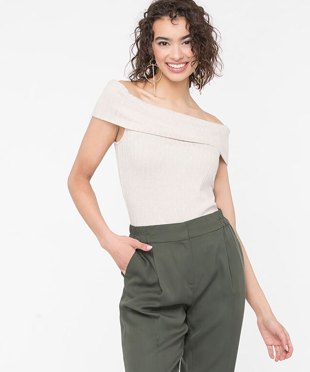 Sleeveless Ribbed On/Off Shoulder Top, Sand, hi-res