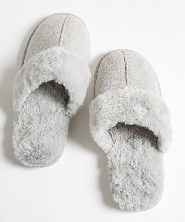 Faux Fur Microsuede Slipper, Grey