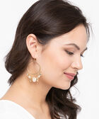 Shell Cluster Hoop Earring, Gold/Pearl, hi-res