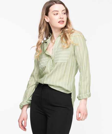Collared Tie-Front Blouse, Green/White Stripe, hi-res