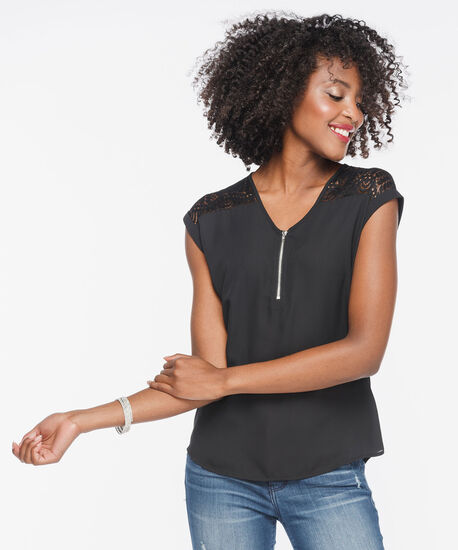Extended Sleeve Mixed Media Zipper Top, Black, hi-res