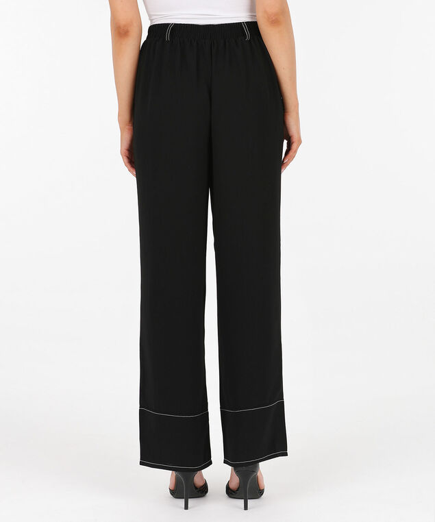 Constrast Stitch Wide Leg Pant, Black/Pearl, hi-res