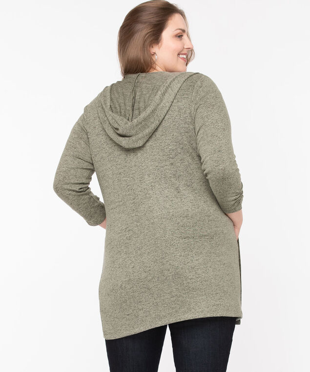 Hooded Tunic Length Open Cardigan, Sea Grass