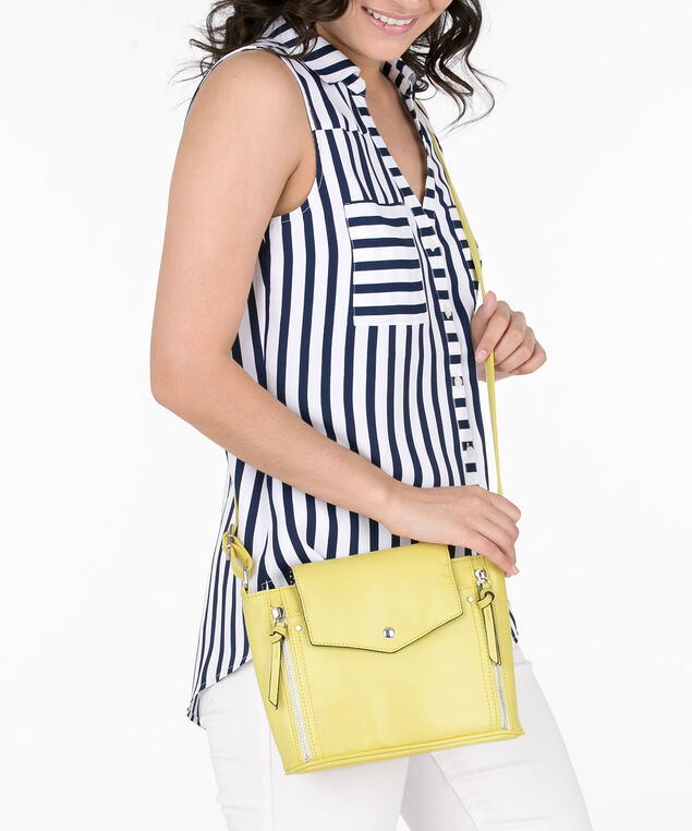 Double Zipper Trim Crossbody Bag, Mustard Yellow, hi-res