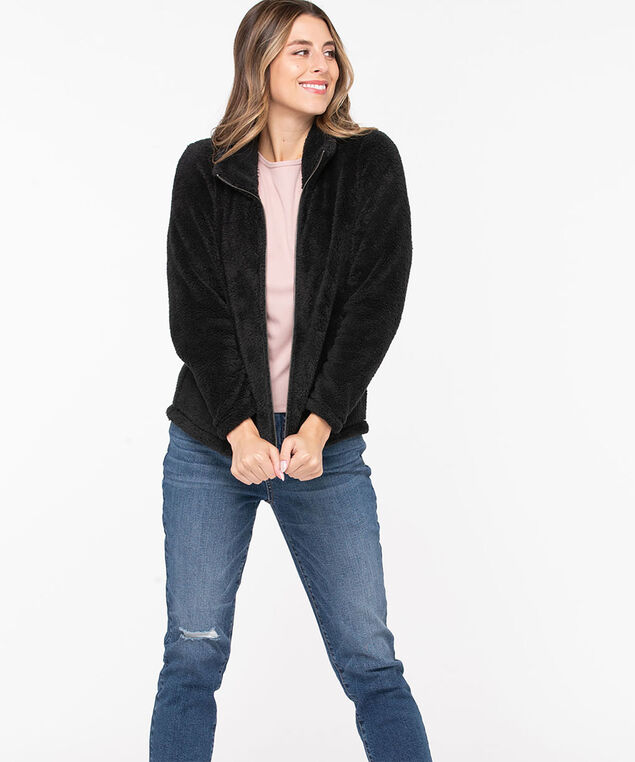 Sherpa Zip Front Jacket, Black, hi-res