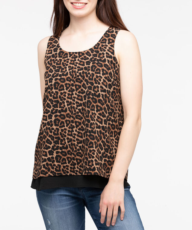 Sleeveless Layered Flyaway Blouse, Brown/Black, hi-res