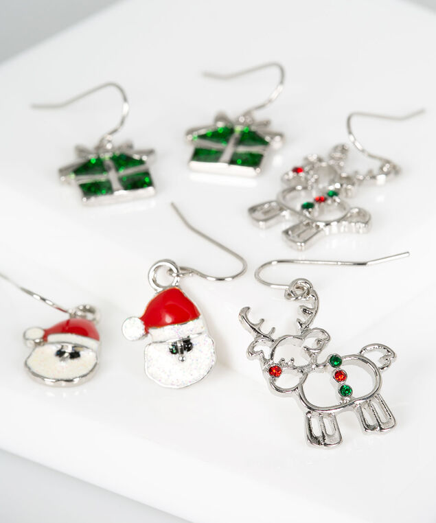 Holiday Earring Set, Rhodium/Crimson/Bright Green, hi-res