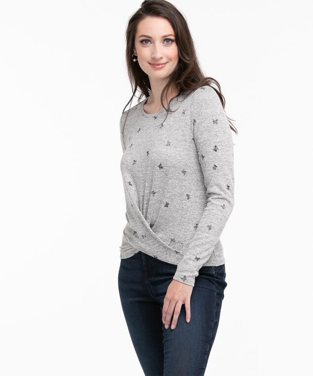 Twist Front Hacci Top, Grey Mix/Black Butterfly