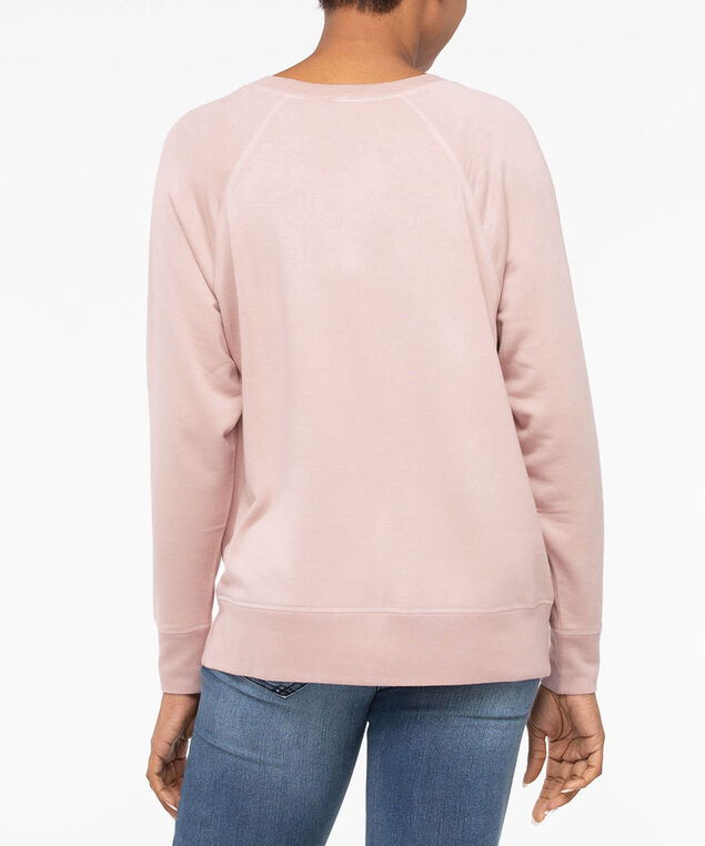 Snap Detail Long Sleeve Top, Soft Pink, hi-res