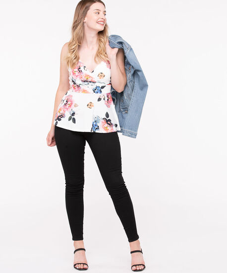 Strappy Faux Wrap Peplum Top, Pearl/Blossom/Gold/Blue, hi-res