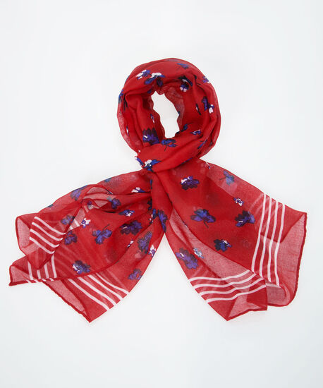 Floral Printed Oblong Scarf, Poppy/Blue/White, hi-res
