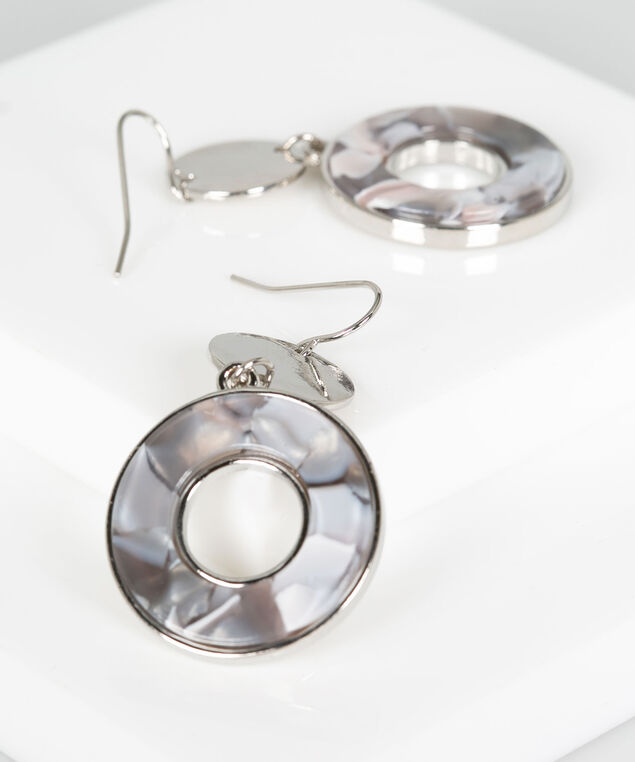 Metal & Resin Disc Earring, Grey/Rhodium, hi-res