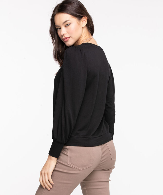 Puff Sleeve Pullover Knit Top, Black