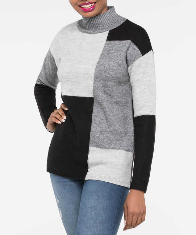 Colourblock Mock Neck Sweater, Light Heather Grey/Mid Heather Grey/Blac, hi-res