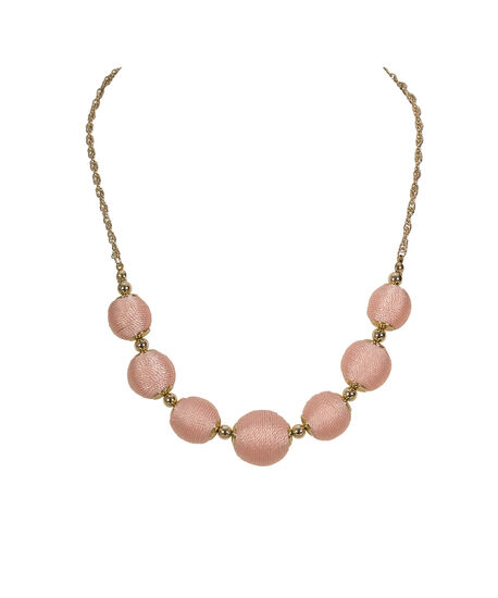 Thread Wrapped Ball Statement Necklace, Peach/Soft Gold, hi-res