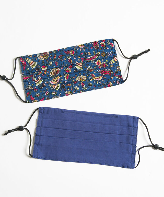Printed Face Mask 2-Pack, Bijou Blue/Blue Paisley