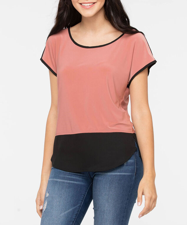 Short Sleeve Colourblock Fooler Top, Dusty Pink/Black, hi-res