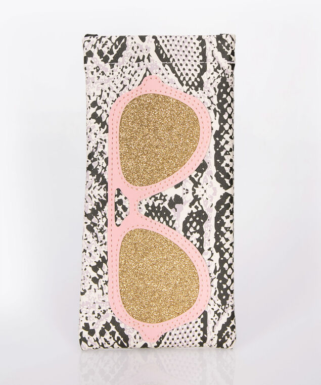 Snake Print & Sunnies Sunglass Case, Black/Milkshake/Pink, hi-res