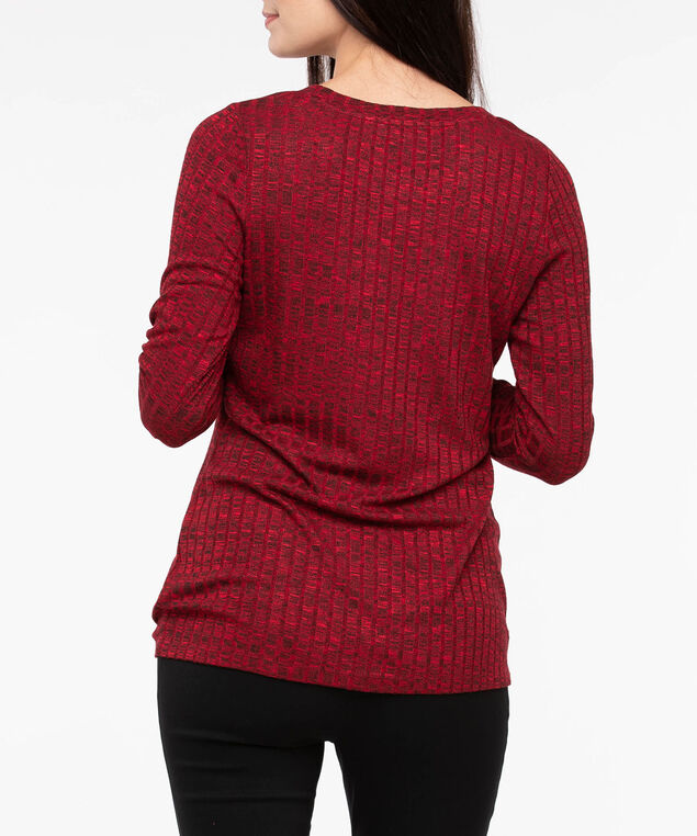 Ruched Drawstring Hem Ribbed Top, Crimson Mix, hi-res