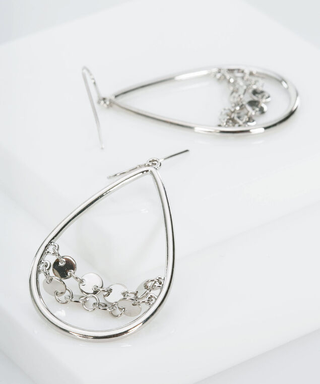 Teardrop Cut Out Earring, Rhodium, hi-res