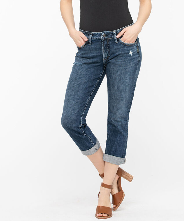 Silver Jeans Co. Elyse Distressed Capri, Mid Wash, hi-res