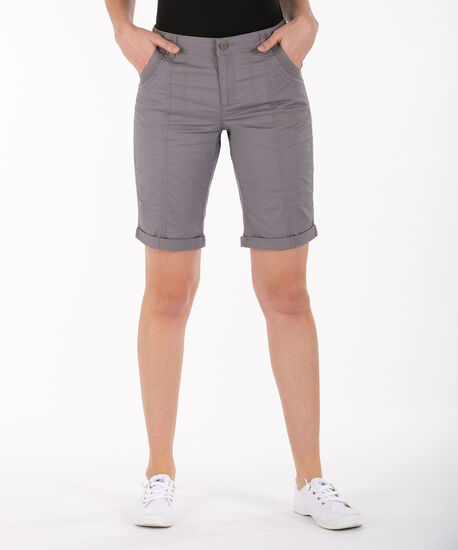 Poplin Roll Cuff Bermuda Short, Grey, hi-res