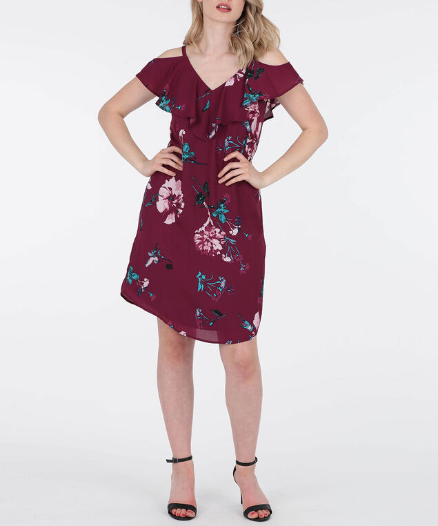 Cross Back Cold Shoulder Dress, Black Cherry/Teal/Cameo Pink, hi-res