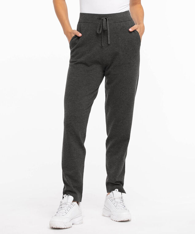 Drawstring Sweater Jogger, Charcoal Heather