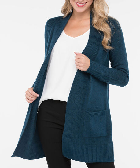 Long Plush Open Cardigan, Steel Blue, hi-res