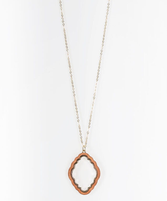 Wood & Gold Pendant Necklace, Gold, hi-res