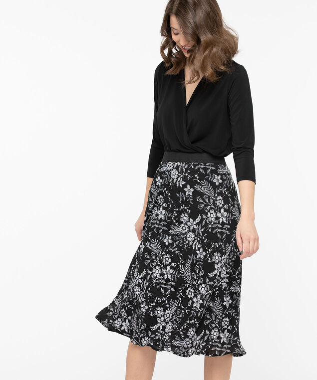 Floral Bias Cut Midi Skirt, Black/Pearl, hi-res