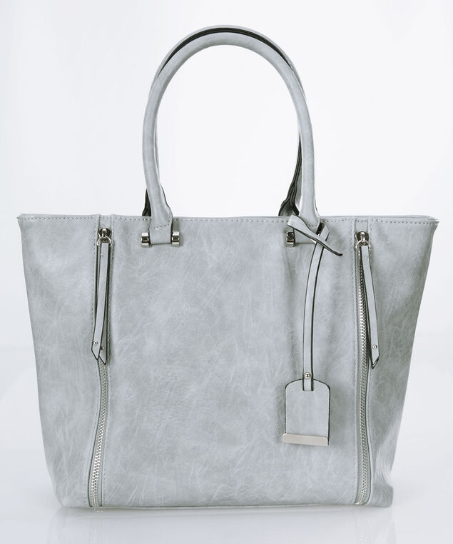 Top Handle Satchel with Charm Tag, Light Grey/Nickel, hi-res