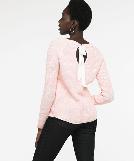 Ribbon Tie Back Pullover Sweater, Rose Petal/Pearl, hi-res