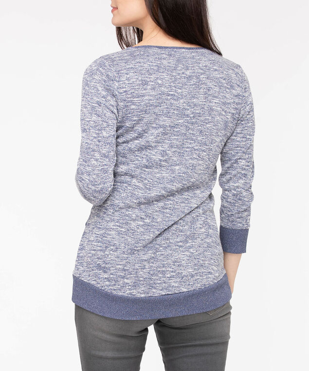 3/4 Sleeve Tulip Hem Top, Blue Fog/Pearl, hi-res