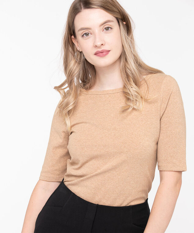 Elbow Sleeve Boat Neck Tee, Heathered Camel, hi-res