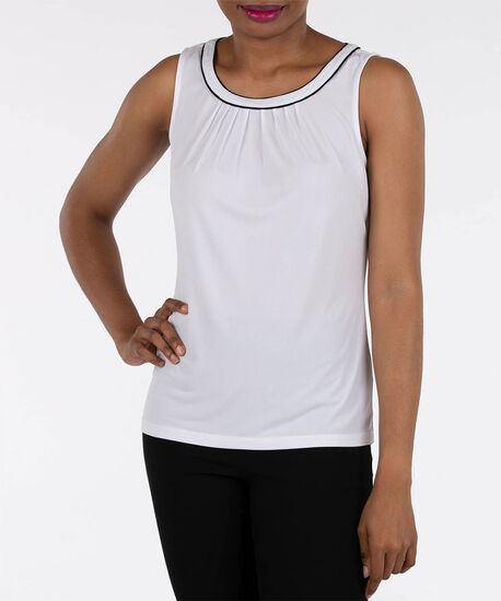 Sleeveless Pleat Neck Top, Ivory/Black, hi-res