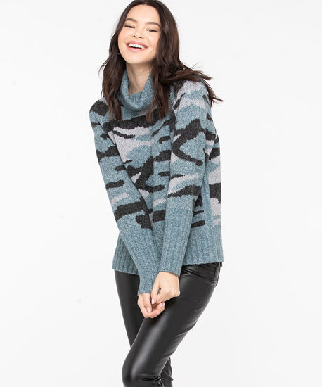 Soft Cowl Neck Patterned Pullover, Green/Black/Grey, hi-res