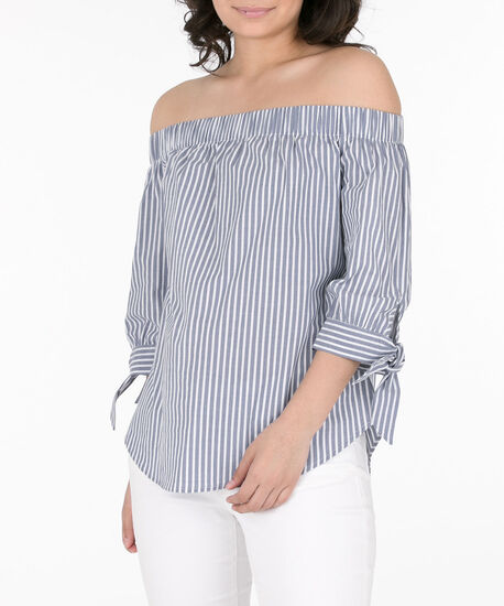 Tie-Sleeve Off-Shoulder Blouse, Blue/White, hi-res