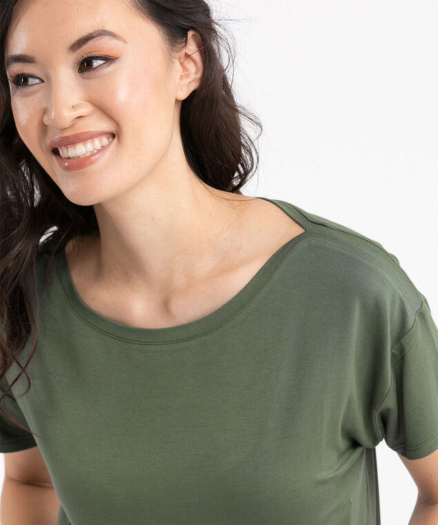 Boat Neck Short Sleeve Top, Thyme
