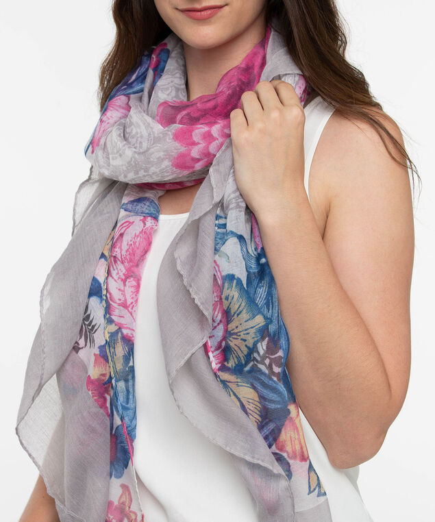 Floral Oblong Scarf, Bright Pink/Summer Navy, hi-res