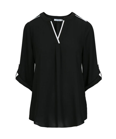 Roll Sleeve Tipped Blouse, Black/White, hi-res
