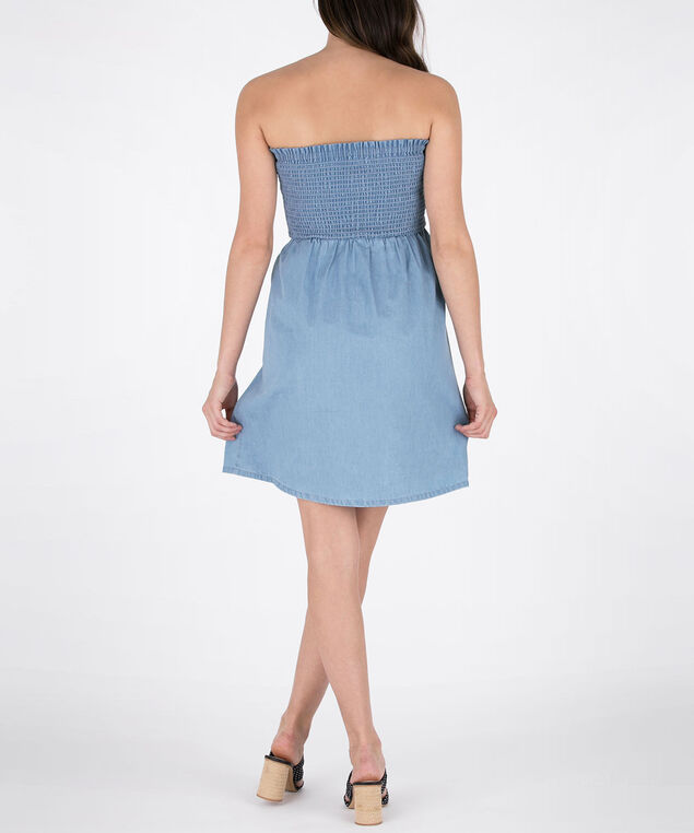 Tencel Bandeau Dress, Light Blue, hi-res