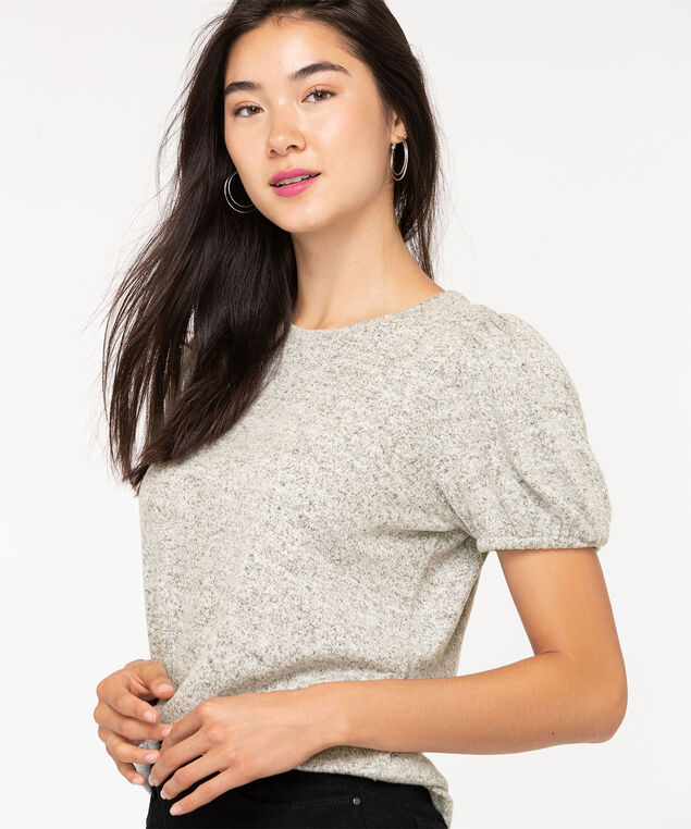 Puff Sleeve Lightweight Knit Top, Light Heather Grey, hi-res